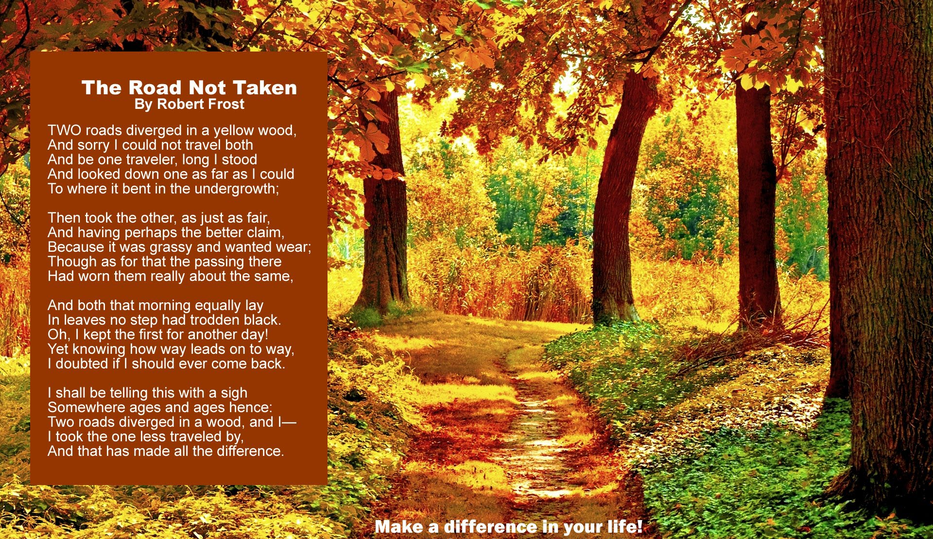 Robert Frost's -The Road Not Taken