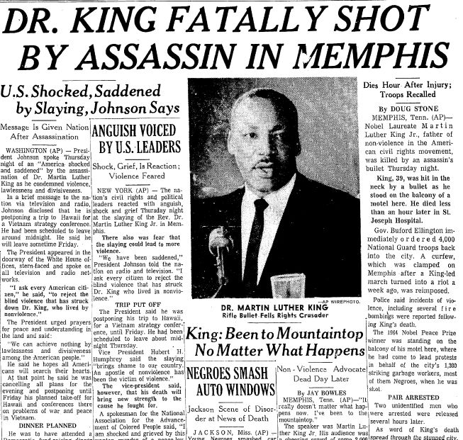 A newspaper article about the assassination of Dr. Martin Luther King Jr., published